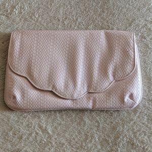 Asos light pink scalloped trimmed clutch